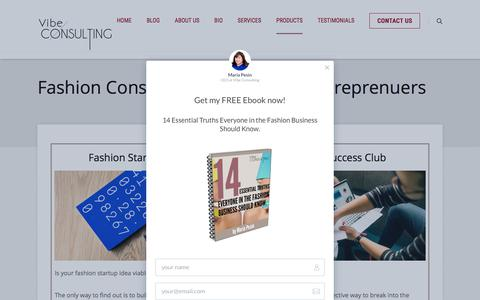 Screenshot of Products Page vibeconsulting.co - Fashion Business Products for Entreprenuers - captured Sept. 20, 2018