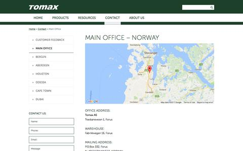 Screenshot of Contact Page tomax.no - Main Office - Tomax - captured Oct. 24, 2017