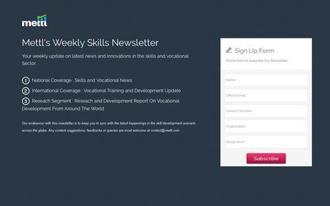 Screenshot of Landing Page mettl.com - Skills Newsletter Landing Page - captured Jan. 14, 2017