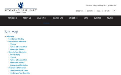 Screenshot of Site Map Page wyomingseminary.org - Site Map - Wyoming Seminary - captured Oct. 19, 2018