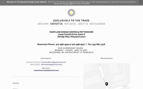 Screenshot of Contact Page squarespace.com - Contact Us — MARYLAND DESIGN CENTER - captured Nov. 1, 2014