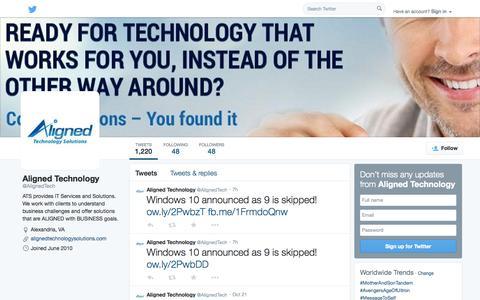 Screenshot of Twitter Page twitter.com - Aligned Technology  (@AlignedTech) | Twitter - captured Oct. 23, 2014