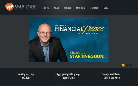 Screenshot of Home Page oaktreechurch.com - Oak Tree Community Church - captured Oct. 6, 2014