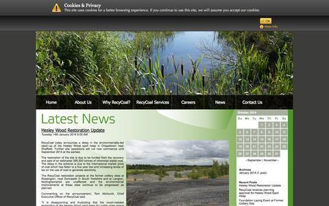 Screenshot of Press Page recycoal.com - RecyCoal News | RecyCoal UK - captured Oct. 26, 2014