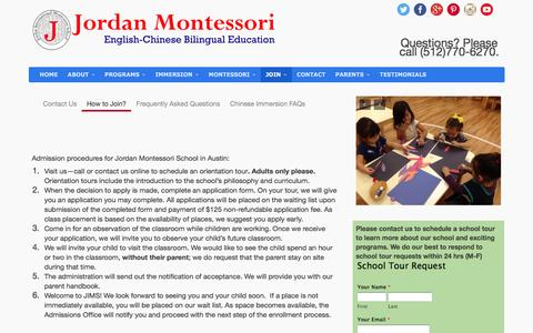 Screenshot of Signup Page jordanmontessori.com - Join Jordan Montessori Chinese PreSchool in Cedar Park Austin - captured Sept. 8, 2016