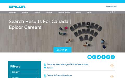 Screenshot of Jobs Page epicor.com - Search Results for Canada | Epicor Careers - captured Dec. 6, 2018