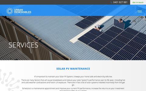 Screenshot of Services Page urbanrenewables.com.au - Urban Renewables // Services // Solar PV System Installation - captured Sept. 20, 2018
