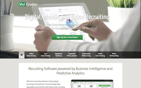 Screenshot of Home Page vidcruiter.com - Video Recruiting and Video Recruiting Software - VidCruiter - captured Jan. 10, 2016