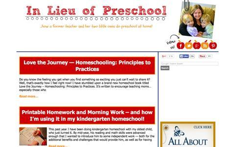 Screenshot of Home Page inlieuofpreschool.com - In Lieu of Preschool - ...what a former teacher and her two little ones do in lieu of preschool! - captured Jan. 23, 2016