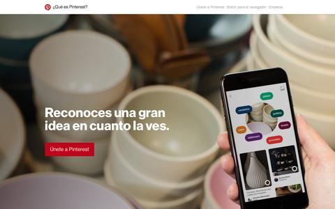 Screenshot of About Page pinterest.com - ¿Qué es Pinterest? - captured May 12, 2018