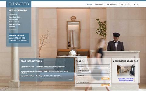 Screenshot of Home Page glenwoodnyc.com - Glenwood Rental Apartments in Manhattan, New York; Affordable luxury apartment rentals in New York City's most desirable neighborhoods - captured Oct. 2, 2015