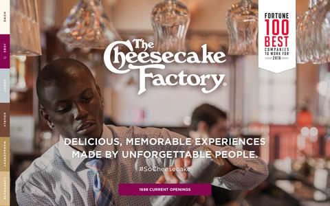 Screenshot of Home Page Jobs Page cakecareers.com - Jobs and Careers | The Cheesecake Factory - captured July 11, 2018