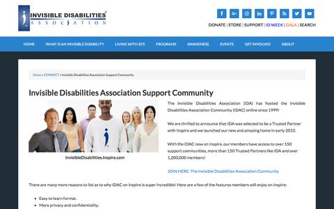 Screenshot of Support Page invisibledisabilities.org - Invisible Disabilities Association Support Community - Invisible Disabilities Association - IDA - captured Oct. 15, 2017