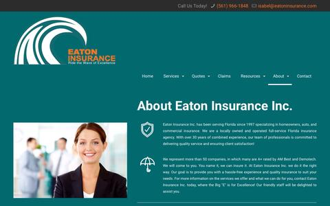 Screenshot of About Page eatoninsurance.net - Florida Insurance Agency | Lake Whales | Eaton InsuranceEaton Insurance - captured Jan. 25, 2016