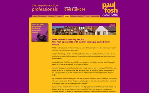 Screenshot of Press Page paulfoshauctions.com - Paul Fosh Auctions - News - captured Sept. 30, 2014