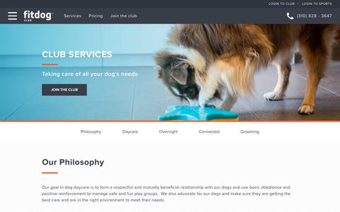 Screenshot of Services Page fitdog.com - Club Services | Fitdog Club | Dog Daycare, Overnight Boarding, Grooming - captured Oct. 10, 2018