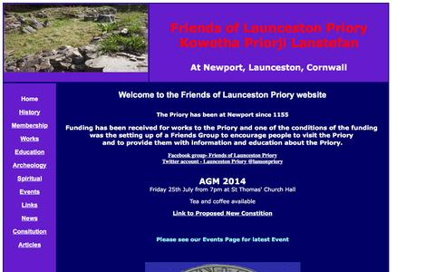 Screenshot of Home Page launcestonpriory.org.uk captured May 21, 2016