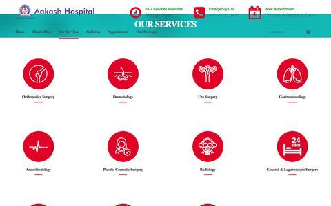 Screenshot of Services Page aakashhospital.com - Services - Aakash Hospital - captured Nov. 12, 2018
