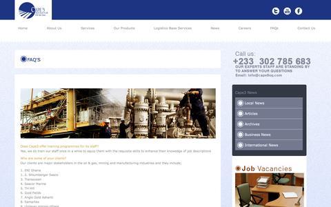 Screenshot of FAQ Page cape3og.com - Cape3 Services: Oil And Gas - captured Nov. 1, 2014