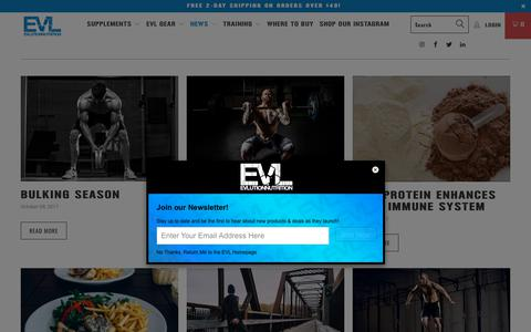 Screenshot of Press Page evlnutrition.com - Blog - EVLUTION NUTRITION - captured Sept. 22, 2018