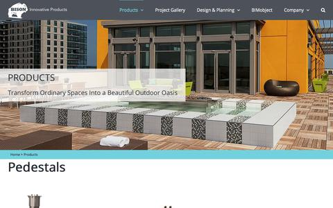 Screenshot of Products Page bisonip.com - Products | Pedestals | Wood Tiles | Paver Trays | Site Furnishings | Bison - captured Oct. 19, 2017