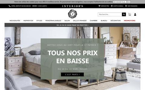 Screenshot of Home Page interiors.fr - Interior's : Meubles en bois massif, canapés et décoration - captured March 15, 2019