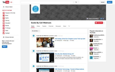 Screenshot of YouTube Page youtube.com - Guide By Cell Webinars  - YouTube - captured Oct. 25, 2014