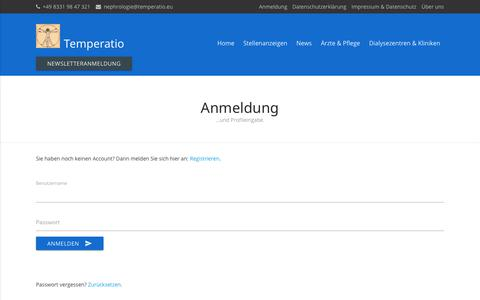 Screenshot of Login Page temperatio.eu - Anmelden - captured Oct. 20, 2018