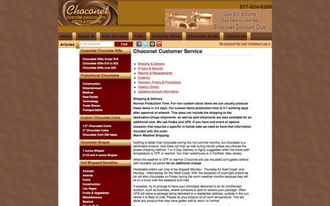 Screenshot of Support Page choconet1.com - Our Customer Services - Corporate Chocolates - Diamond Chocolate - captured April 10, 2017