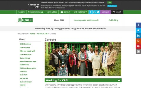 Screenshot of Jobs Page cabi.org - Careers - captured May 13, 2017