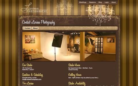 Screenshot of About Page larissaphotography.com - Contact Information - Larissa Photography - captured Sept. 27, 2014