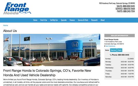 Screenshot of About Page frontrangehonda.com - About Front Range Honda in Colorado Springs, CO - captured Jan. 8, 2016