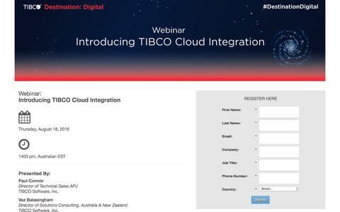 Screenshot of Landing Page tibco.com - Webinar: Introducing TIBCO Cloud Integration - captured July 30, 2016