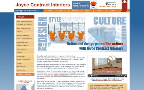 Screenshot of Home Page joycecontract.com - Joyce Contract Interiors: New and Used Office Furniture and cubicles - Boston, MA - captured Oct. 6, 2014