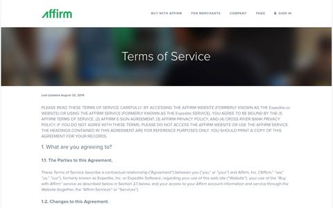 Affirm | Terms and Conditions of the Affirm Services