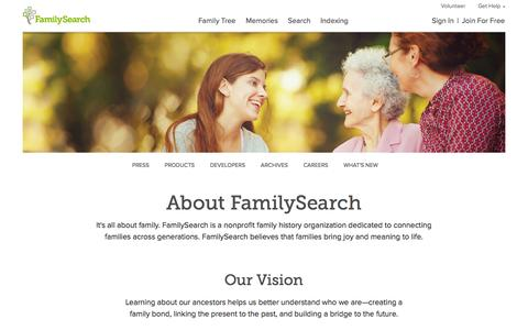 Screenshot of About Page familysearch.org - About FamilySearch — FamilySearch.org - captured Sept. 18, 2014