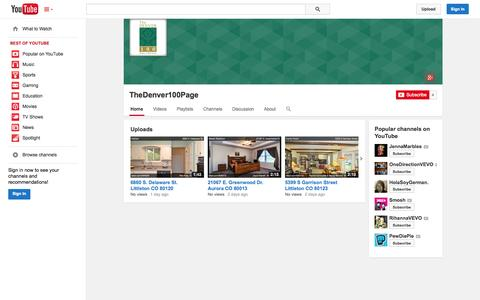 Screenshot of YouTube Page youtube.com - TheDenver100Page  - YouTube - captured Oct. 26, 2014
