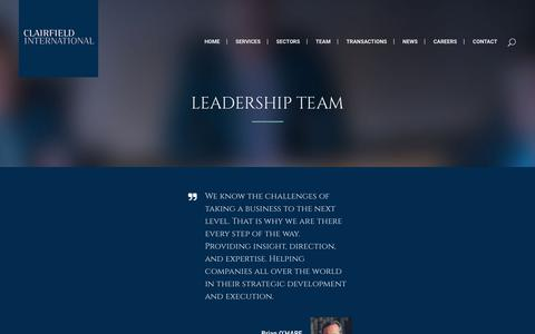 Screenshot of Team Page clairfield.com - Clairfield International     Leadership team - captured Aug. 4, 2017
