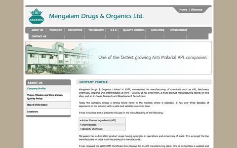 Screenshot of About Page mangalamdrugs.com - Mangalam Drugs & Organics Ltd. - Company Profile - captured Oct. 4, 2014