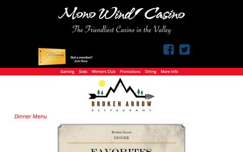 Screenshot of Menu Page monowind.com - Menu - Mono Wind Casino - captured June 14, 2016