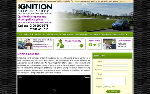 Screenshot of Home Page driving-lesson.co.uk - Ignition  Driving Lessons | Driving Schools | Intensive Driving Courses - captured Jan. 28, 2015