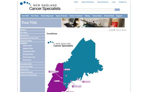 Screenshot of Contact Page Locations Page newenglandcancerspecialists.org - Locations «  Maine Center For Cancer Medicine News - captured Oct. 23, 2014
