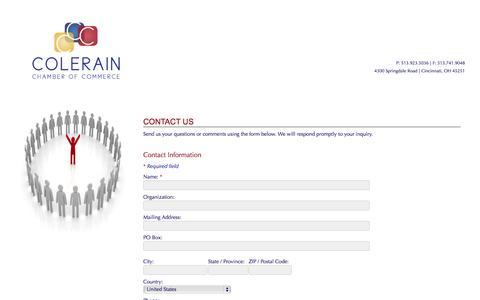 Screenshot of Contact Page colerainchamber.org - Contact Us - Colerain Chamber  » - captured Nov. 1, 2014