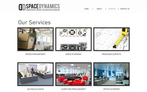Screenshot of Services Page spacedynamics.co.uk - Space Dynamics  Services - captured Dec. 6, 2016