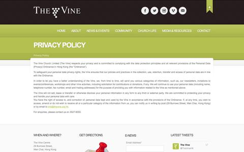 Screenshot of Privacy Page thevine.org.hk - Privacy Policy - The Vine Church - An international church in Hong Kong - captured Dec. 23, 2016