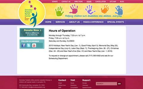 Screenshot of Hours Page schreiberpediatric.org - Schreiber Pediatric Center - Hours - captured Feb. 4, 2016