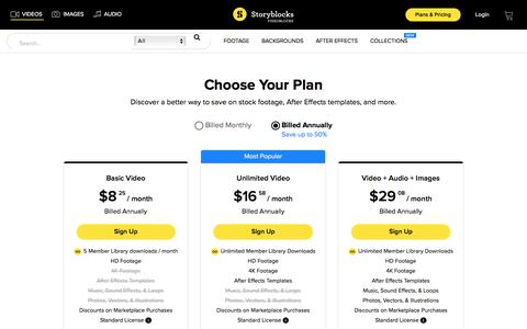 Screenshot of Pricing Page videoblocks.com - Stock Video Membership Plans and Pricing - Storyblocks Video - captured Sept. 19, 2018