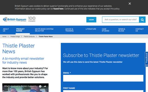 Screenshot of Signup Page british-gypsum.com - Thistle Plaster News - captured Aug. 4, 2018