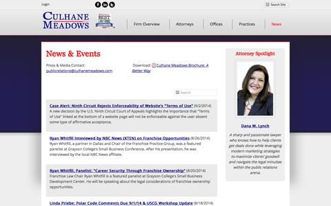 Screenshot of Press Page culhanemeadows.com - News and Updates | Culhane Meadows PLLC - captured Oct. 3, 2014