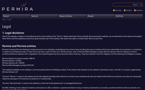 Screenshot of Terms Page permira.com - Legal | Permira - captured Dec. 3, 2017